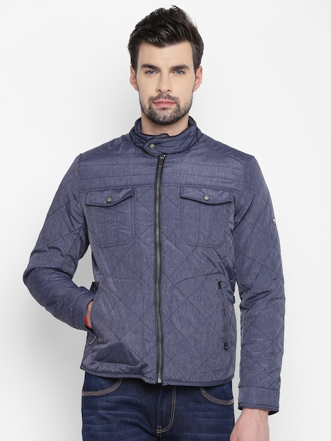 Louis Philippe Men Blue Solid Quilted Jacket