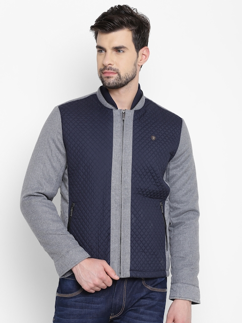 Louis Philippe Men Navy & Grey Melange Colourblocked Quilted Jacket