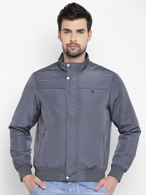 Louis Philippe Men Grey Solid Bomber