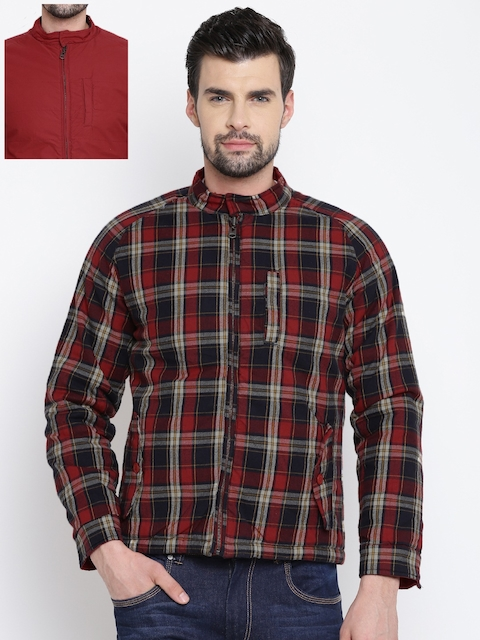 Louis Philippe Jeans Men Red Checked Reversible Padded Jacket
