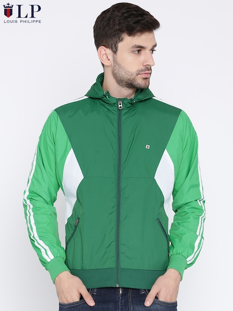 Louis Philippe Sport Men Green Solid Hooded Sporty Jacket