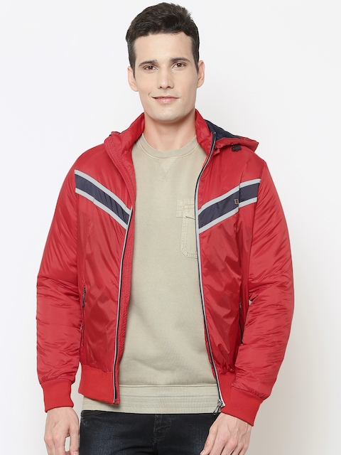 Louis Philippe Sport Men Red Solid Hooded Bomber Jacket
