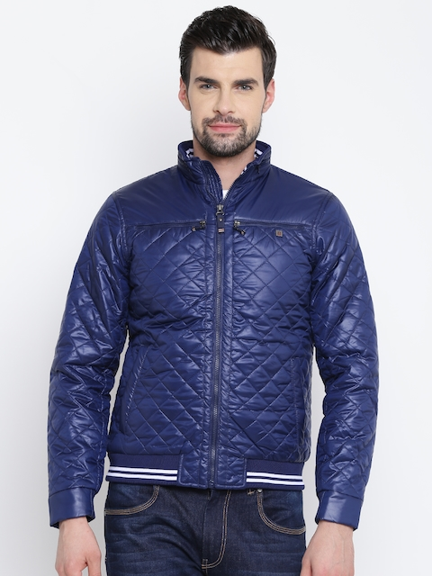 Louis Philippe Sport Men Blue Solid Bomber Jacket with Detachable Hood