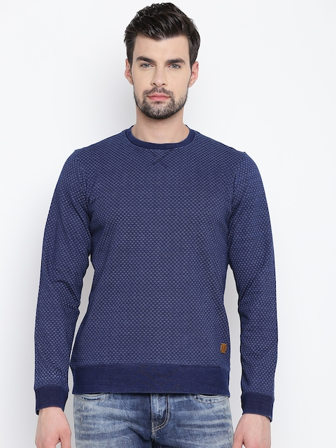 Louis Philippe Sport Men Blue Printed Sweatshirt