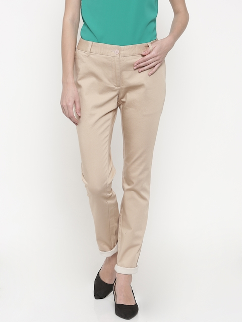 Park Avenue Woman Women Beige Tapered Fit Solid Regular Trousers