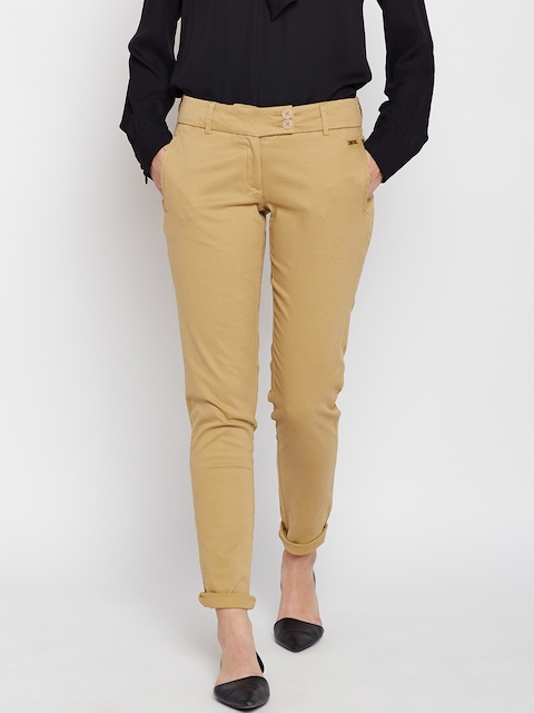 Park Avenue Women Beige Printed Tapered Fit Chinos