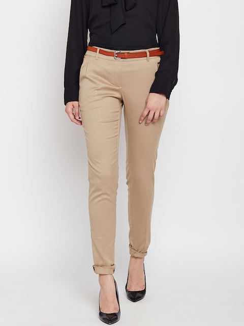 Park Avenue Woman Women Beige Tapered Fit Solid Formal Trousers
