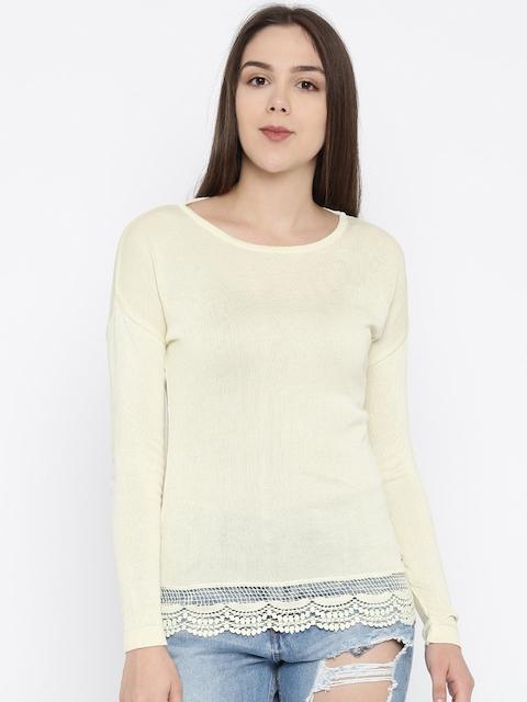 Park Avenue Women Cream-Coloured Solid Top