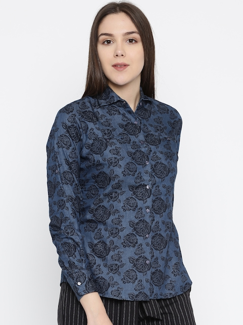 Park Avenue Woman Blue Regular Fit Solid Casual Shirt