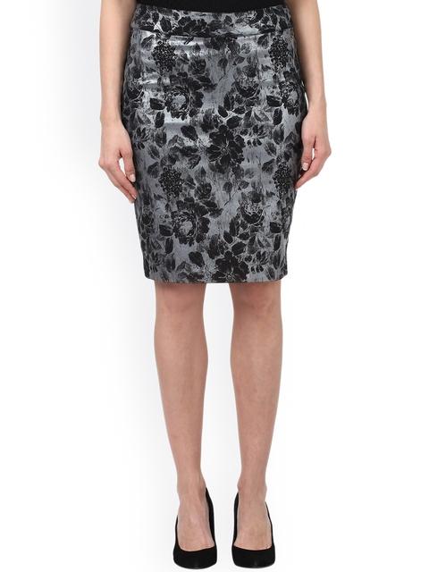 Park Avenue Black Floral Printed Pencil Skirt