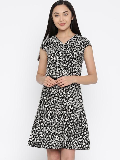Park Avenue Woman Black & Cream-Coloured Printed A-Line Dress