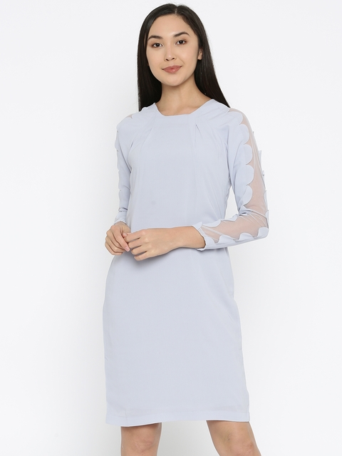 Park Avenue Woman Blue Solid Sheath Dress