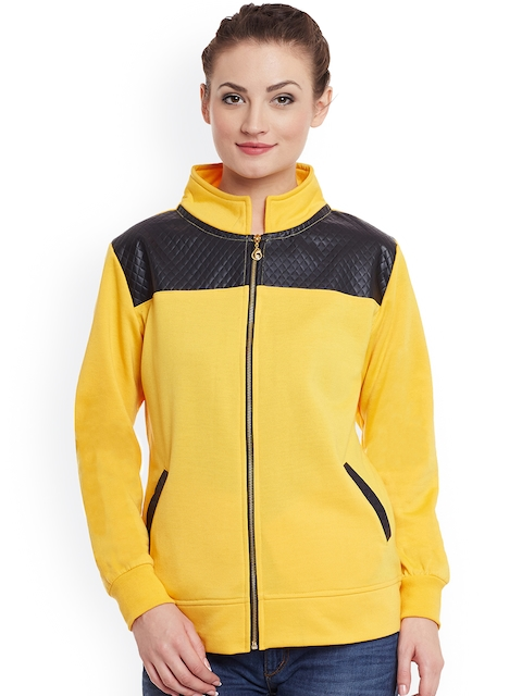 Belle Fille Women Yellow Solid Bomber Jacket  available at myntra for Rs.999
