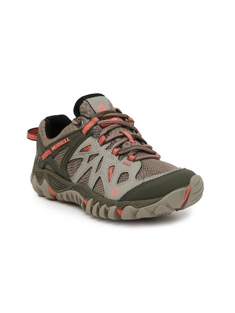 Merrell Women Grey & Olive All Out Blaze Aero Sport Trekking Shoes