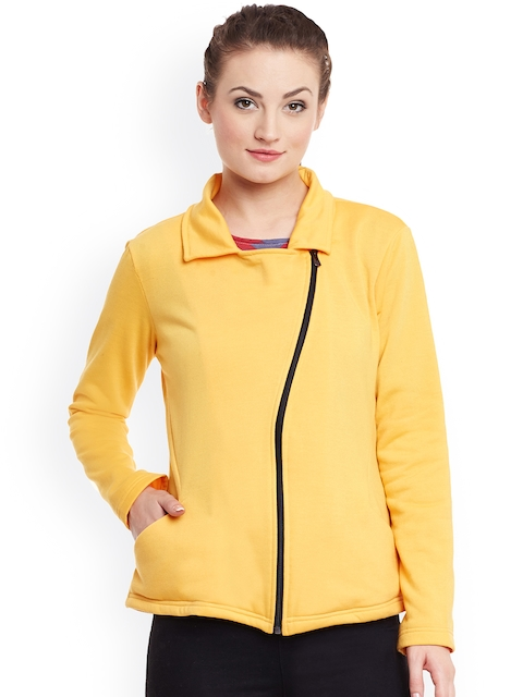 Belle Fille Women Yellow Solid Tailored Jacket  available at myntra for Rs.799