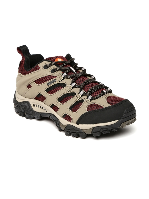 Merrell Women Beige & Burgundy MOAB GTX Waterproof Trekking Shoes