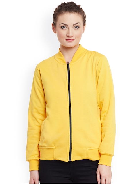 Belle Fille Women Yellow Solid Bomber Jacket  available at myntra for Rs.799