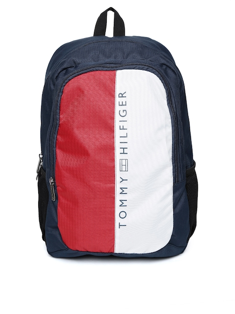 Tommy Hilfiger Unisex Navy & Red Colourblocked Backpack