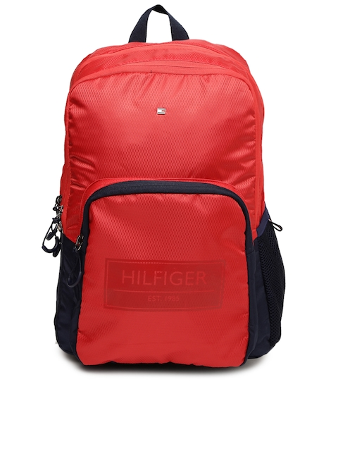 Tommy Hilfiger Unisex Red Self-Design Backpack
