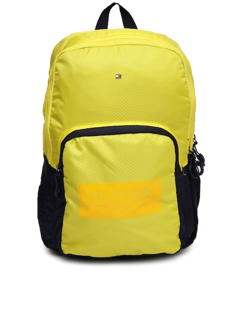 Tommy Hilfiger Unisex Yellow Self-Design Backpack