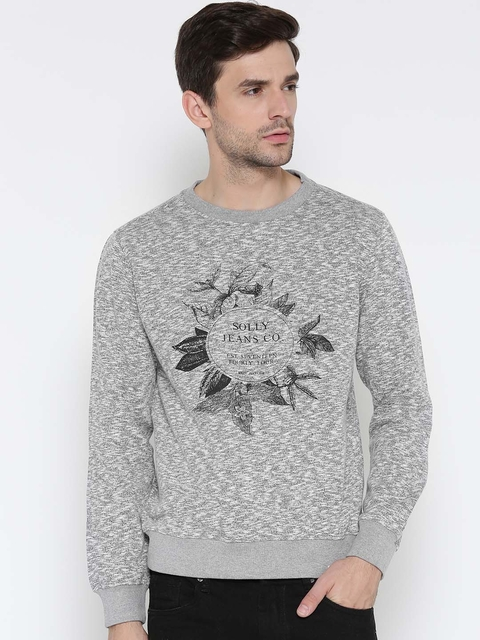 Allen Solly Men Grey Melange Printed Sweatshirt