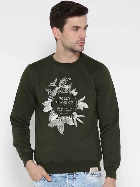 Allen Solly Men Olive Green Printed Sweatshirt