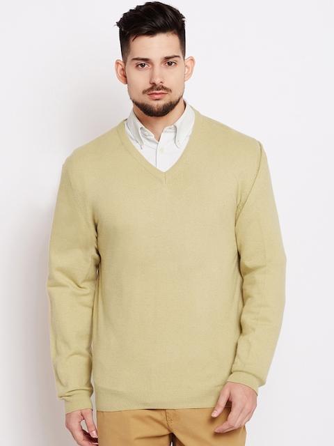 Wills Lifestyle Men Beige Solid Sweater