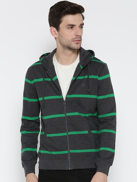 Allen Solly Men Grey & Green Striped Hooded Sweatshirt