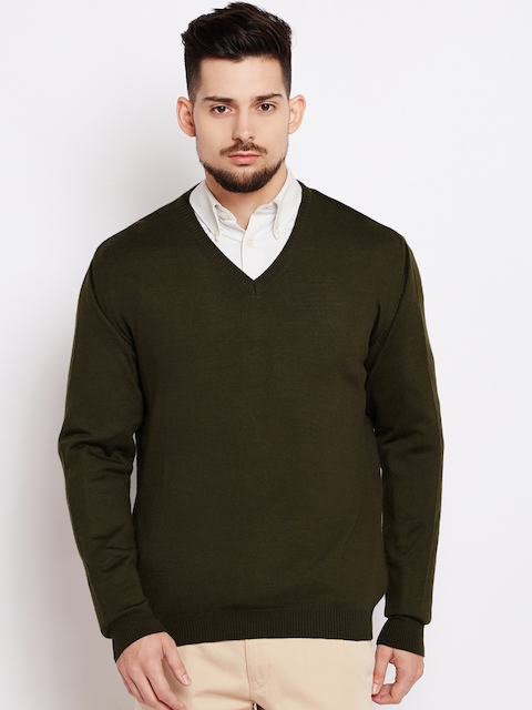 Wills Lifestyle Men Olive Green Solid Pullover