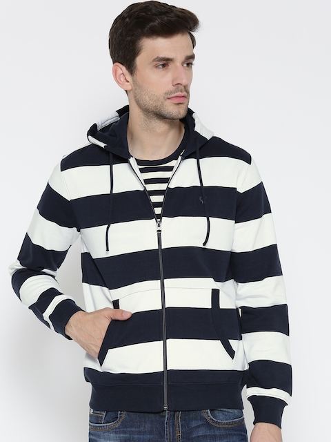 Allen Solly Men White & Navy Striped Hooded Sweatshirt