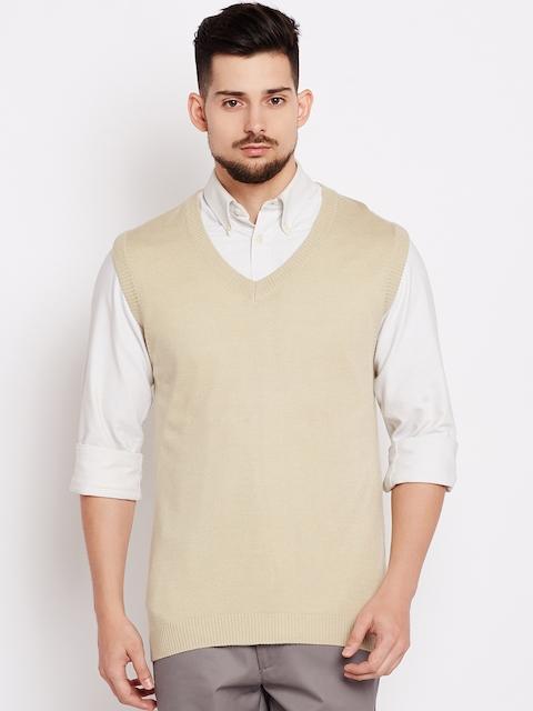 Wills Lifestyle Men Beige Solid Sweater Vest