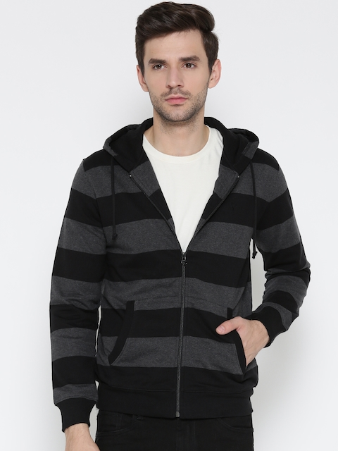 Allen Solly Men Charcoal Grey & Black Striped Hooded Sweatshirt