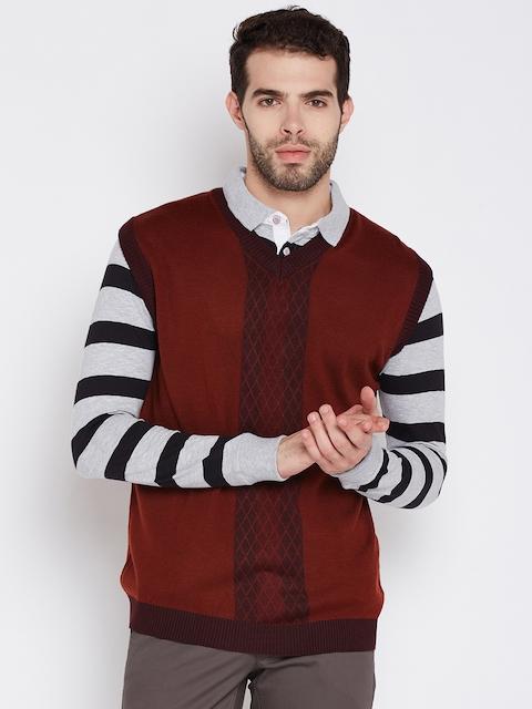 Wills Lifestyle Men Rust Red Self-Design Woollen Sweater Vest