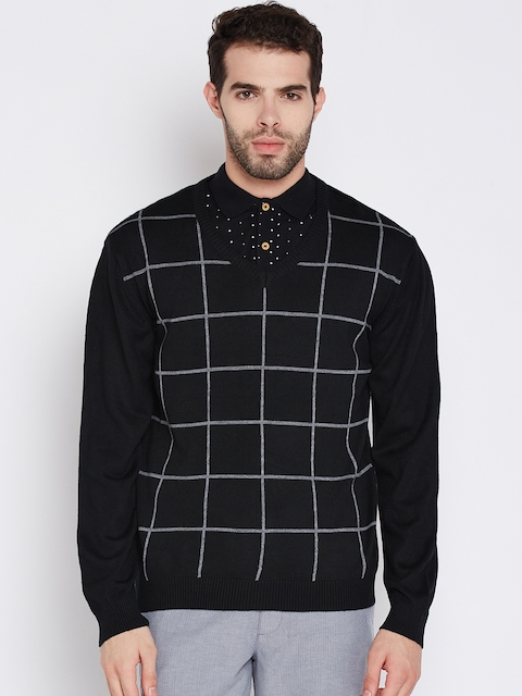 Wills Lifestyle Men Black Checked Sweater