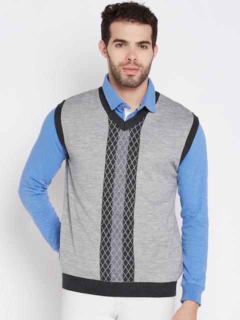 Wills Lifestyle Men Grey Melange Self-Design Sleeveless Sweater