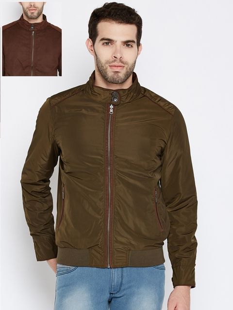 Wills Lifestyle Men Olive Green & Brown Solid Reversible Jacket