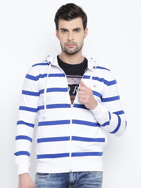 Solly Sport Men White & Blue Striped Hooded Sweatshirt