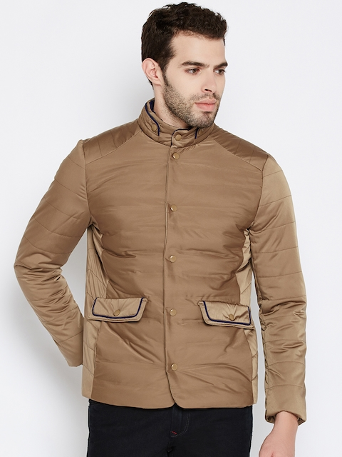 Wills Lifestyle Men Beige Solid Padded Jacket