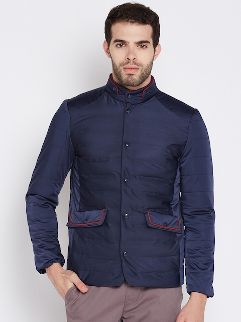 Wills Lifestyle Men Navy Blue Solid Padded Jacket