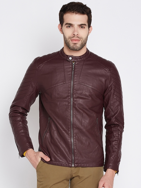 Wills Lifestyle Men Burgundy Solid Biker Jacket