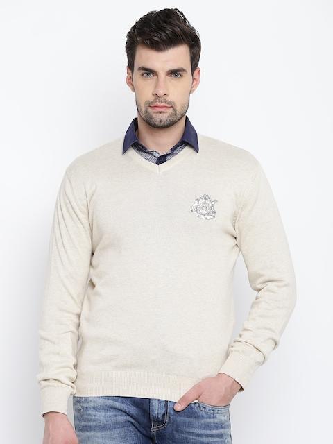 Allen Solly Men Beige Solid Sweater