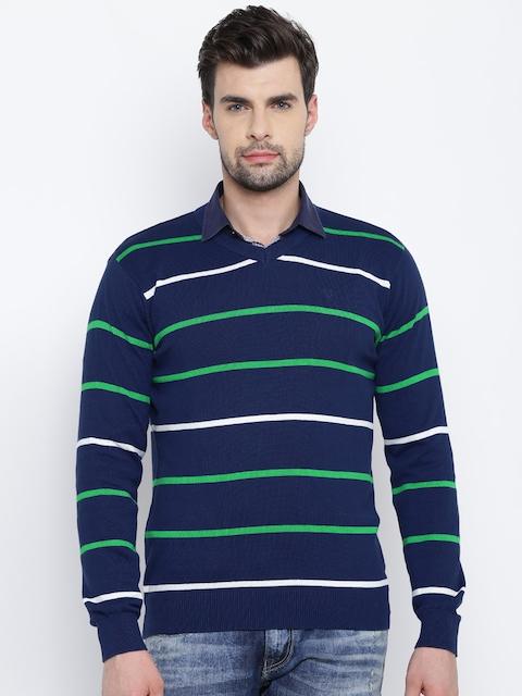 Allen Solly Men Blue & Green Striped Sweater