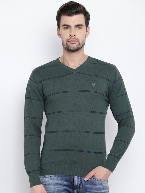 Allen Solly Men Green Striped Sweater
