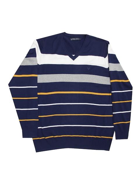 Allen Solly Men Blue Striped Pullover Sweater