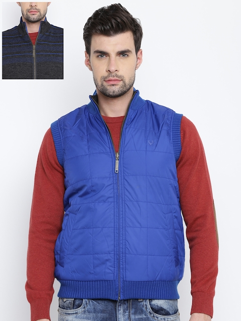 Allen Solly Blue & Charcoal Grey Sleeveless Reversible Padded Jacket