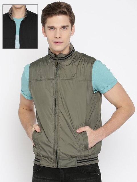 Allen Solly Men Grey & Black Solid Reversible Padded Jacket