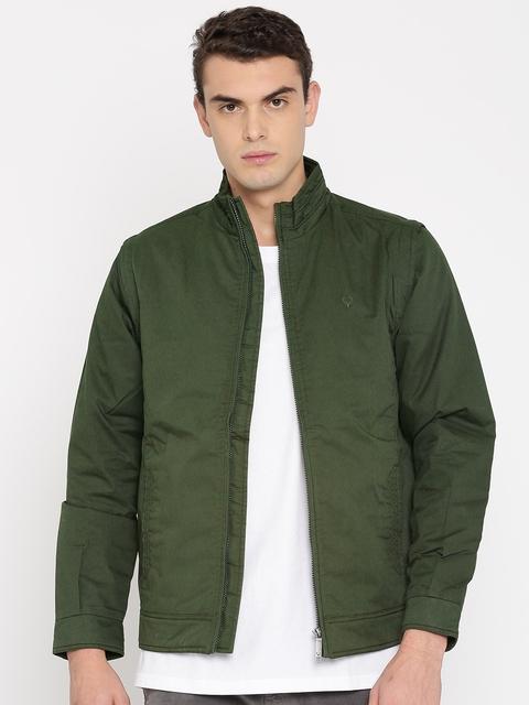 Allen Solly Men Olive Green Solid Jacket