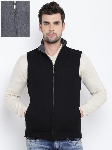 Allen Solly Men Black & Grey Patterned Reversible Tailored Jacket