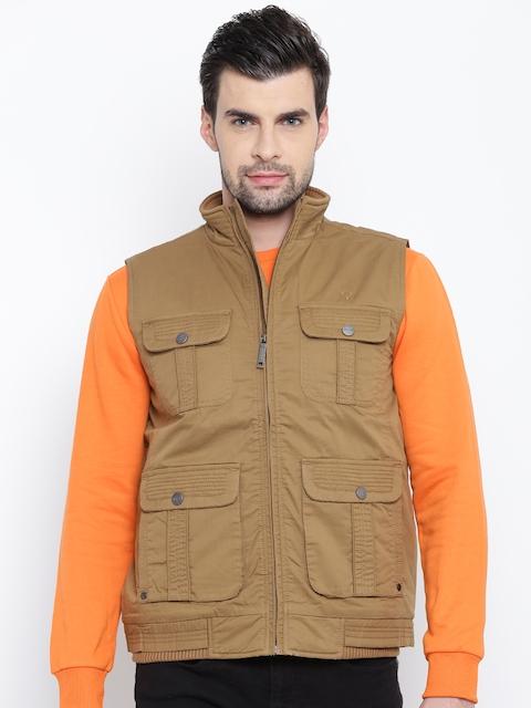 Allen Solly Men Brown Solid Tailored Jacket
