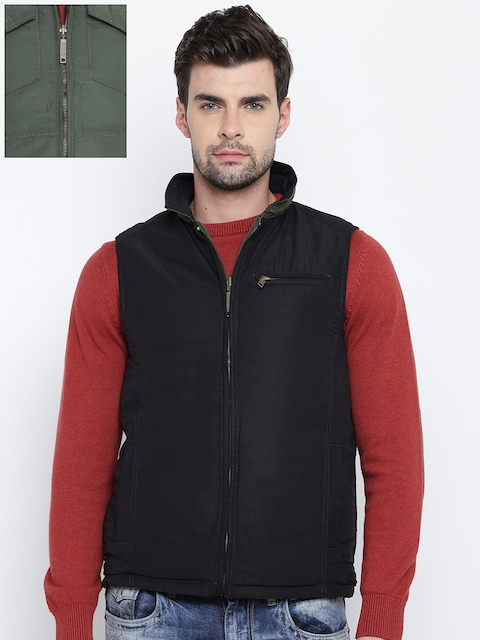 Allen Solly Men Black & Olive Green Solid Reversible Tailored Jacket